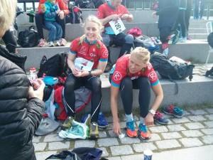 Ingvild og Ragnhild (og Mads) var som vanlig tidlig inne på 1.etappe!